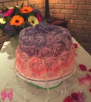 Ombre Rose Brownie-Blondie Bridal Shower Cake - Taylor Made Sweets and Treats