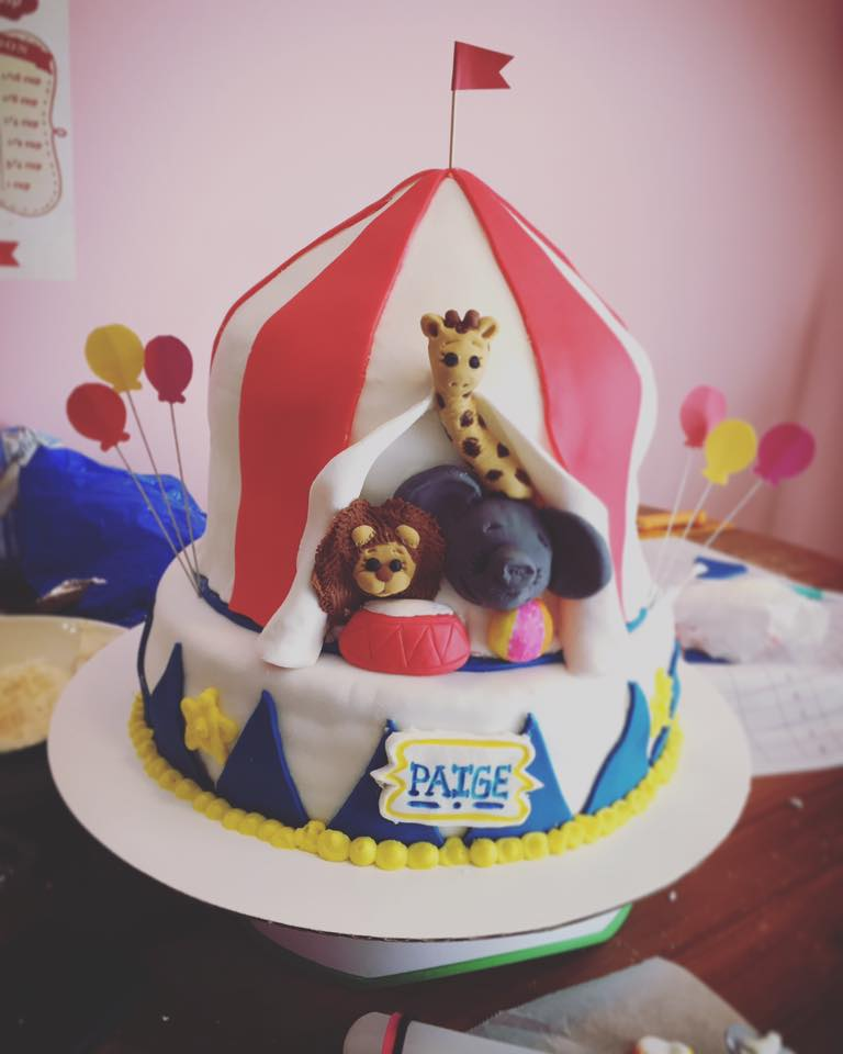 Circus-themed first birthday cake (Taylor Made Sweets and Treats)